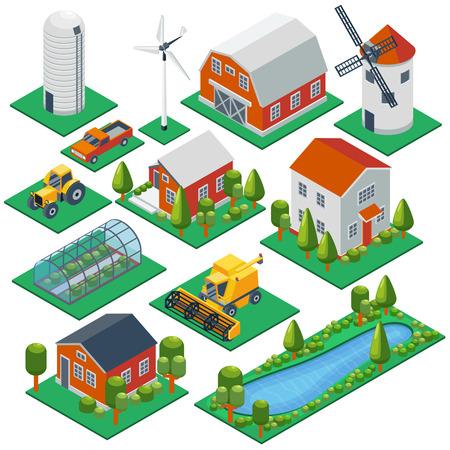 田舎の等尺性の建物やコテージ。3 d トラクター、コンバイン、ピックアップのベクトルのアイコンを設定します。納屋や村、温室、飼育の図の構築