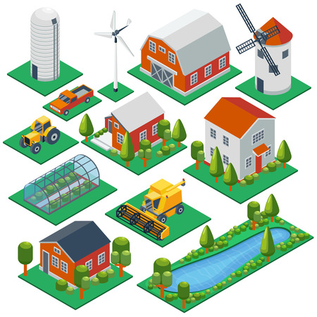 pond: Isometric rural buildings and cottages. 3d tractor, combine, pickup  vector icons set. Barn and building village, greenhouse and husbandry illustration