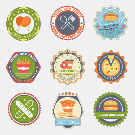 hotdog sandwiches: Fast food flat badges. Burger and pizza, tasty fries, hamburger product, logotype hotdog, sandwich and coffee, vector illustration