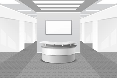 Lobby of receptie interieur. Kantoor en meubilair, business hal, balie in het hotel, vector illustratie
