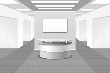 Lobby or reception interior. Office and furniture, business hall, counter in hotel, vector illustration