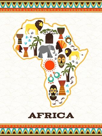 Mapa de África con iconos africanos. País y animal, djembe y el folclore nacional, el diamante y el viaje, ilustración vectorial