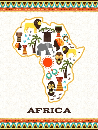Africa map with african icons. Country and animal, djembe and national folklore, diamond and travel, vector illustration