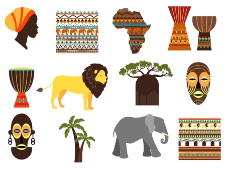 djembe: Africa safari vector emblems and flat icons. Aborigine and mask, animal and djembe, tribe and continent, vector illustration
