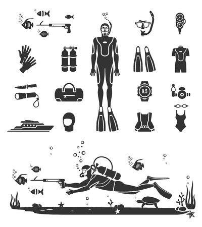 picada: Equipos de buceo. Bajo el agua Deporte, agua de mar, guantes y una linterna, máscara y snorkel, ilustración vectorial Vectores