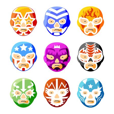 La lucha libre, luchador mexicano iconos vectoriales máscaras de lucha libre del color ajustado. Cara Carácter persona, traje deporte símbolo ilustración