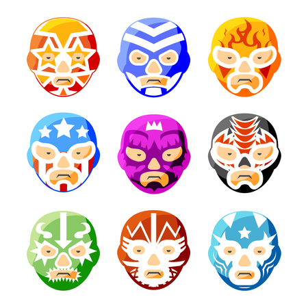 mexicans: Lucha libre, luchador mexican wrestling masks color vector icons set. Character face person, sport costume symbol illustration