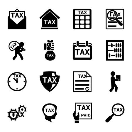 impuestos: iconos de impuestos y finanzas conjunto de vectores. Fiscalidad y contabilidad, pago y de negocio ilustración Vectores