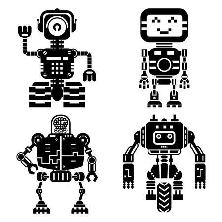 robot toy: Robot icons vector set. Artificial intelligence elements. Machine technology, cyborg robotic future illustration