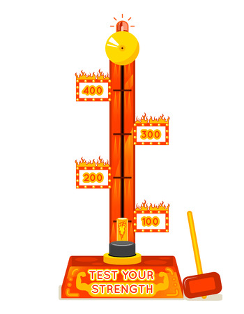 test: Strength tester. Test your strength amusement game. Power and strong, entertainment and festival. Vector illustration