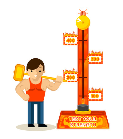 Strongman and test your strength game. Hammer and man, muscular athletic, vector illustration Stock Illustratie