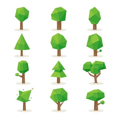 plant nature: Polygonal trees set. Design nature, environment green, plant natural, vector illustration Illustration