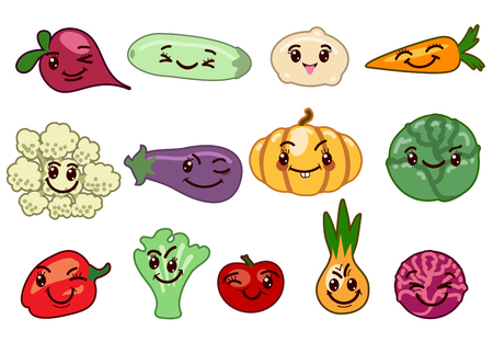 organic peppers sign: Vegetables kawaii characters. Peppers and pumpkin, cauliflower and beets, carrot and cabbage, vector illustration