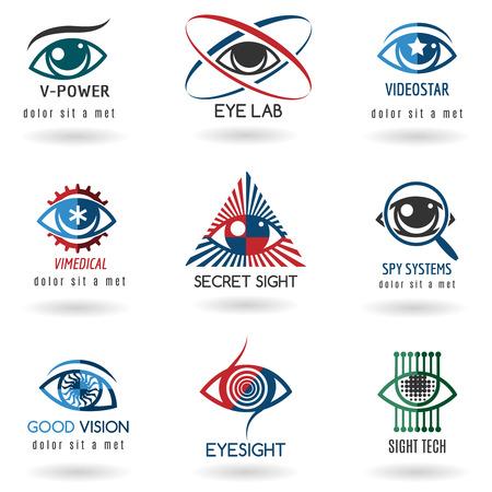 目のロゴを設定します。アイコン ビジョン、抽象的な光、視力、時計。ベクトル図
