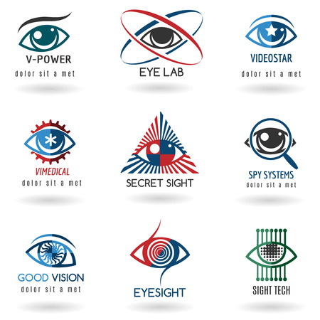 Eye logo set. Icon vision, abstract optical, eyesight and watch. Vector illustration