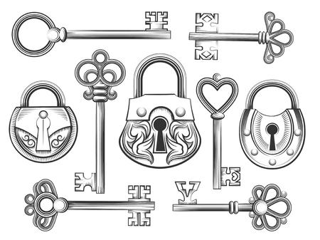 손 빈티지 키 및 잠금 벡터 세트를 그려. 자물쇠와 열쇠 구멍, 골동품 수집, 보안 및 안전 그림