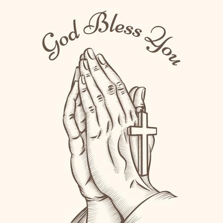 Gebed hand met kruis. Religieuze en god, bid en heilig, spiritualiteit en kruisbeeld, vector illustratie