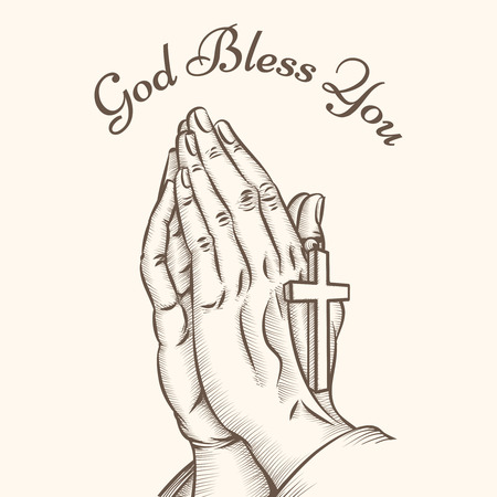 bless: Prayer hand with cross. Religious and god, pray and holy, spirituality and crucifix, vector illustration