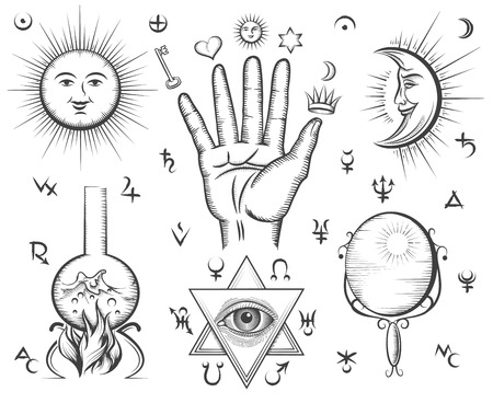 religion: Alchemy, spirituality, occultism, chemistry, magic tattoo vector symbols. Design esoteric and gothic, witchcraft and mystery, medieval potion illustration Illustration