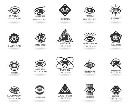 눈 로고 벡터 집합입니다. 아이콘 비전, 안구 모양, 동그라미, 벡터 그림은 요소
