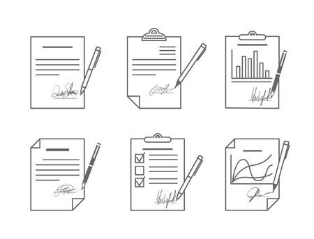 formal signature: Document or contract with signature. Agreement and paper, vector illustration Illustration