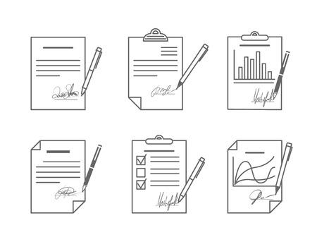 blatt: Dokument oder Vertrag mit Unterschrift. Abkommen und Papier, Vektor-Illustration Illustration