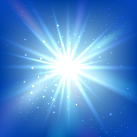 light beams: Blue sky with bright flash or burst. Abstract vector background. Shine star illustration Illustration