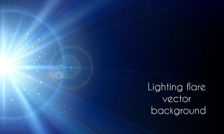 iluminacion: destello eléctrica de la estrella. iluminación de la llamarada de vectores de fondo abstracto. Resplandor cielo brillante ilustración Vectores