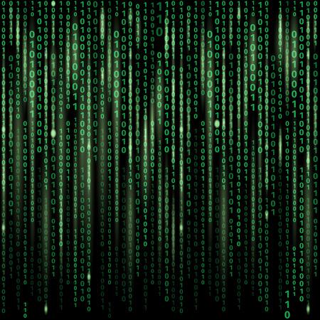 Arroyo de código binario en pantalla. Fondo abstracto del vector. Los datos y la tecnología, el descifrado y cifrado, ilustración matriz equipo