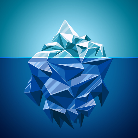 melting ice: Snow vector iceberg mountain in polygonal style. Water and sea,  underwater and antarctic landscape, vector illustration Illustration
