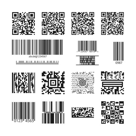 código de barras: Bar codes and QR codes set. Technology and information data, square and bar, identification price illustration Vectores
