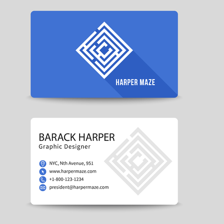 phone symbol: Corporate business card with labyrinth symbol. Brand and logotype, visiting corporate label, address and phone number illustration