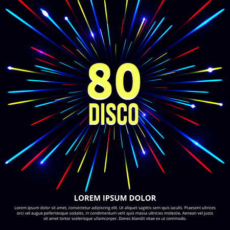Fireworks abstract background. Retro 80s disco poster. Design party music, sound and audio dance illustration