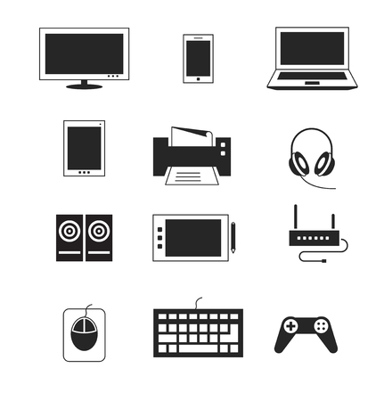 computer device: Computer electronic device templates. Tablet and headphones, phablet and audio, mouse and router illustration