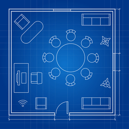 Office floor plan with linear symbols. Conferance business outline furniture icons. Project sketch, furniture office, floor plan illustration