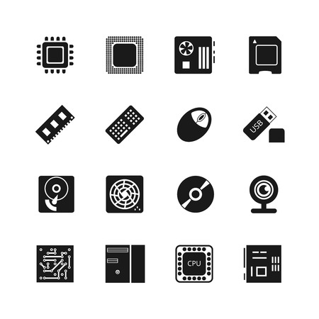 Computer chips icons set. Cooler and cpu, webcam and mouse, flash drive and motherboard illustration 向量圖像