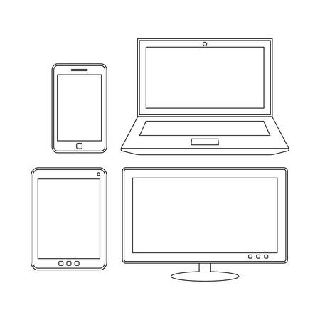 laptop screen: Electronic devices. Laptop, tablet, smartphone and monitor. Outline design template. Touchscreen phablet, phone and screen illustration Illustration
