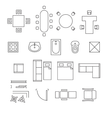 Furniture linear symbols. Floor plan icons set. Interior and toilet, washbasin and bath, table and chair illustration
