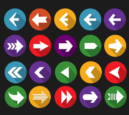 next: Back and next arrow flat icons with long shadows. Button symbol interface, cursor website.