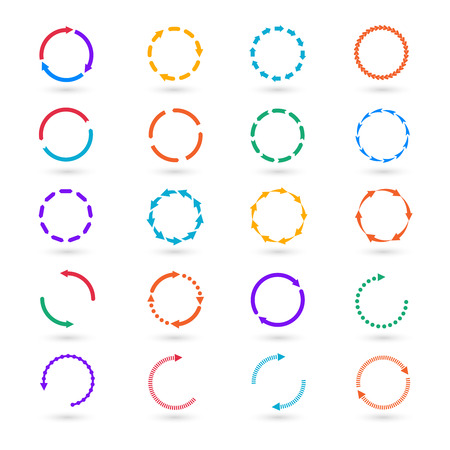 Circle arrows infographic elements set. Circular step, cycle process, information and round illustration  イラスト・ベクター素材