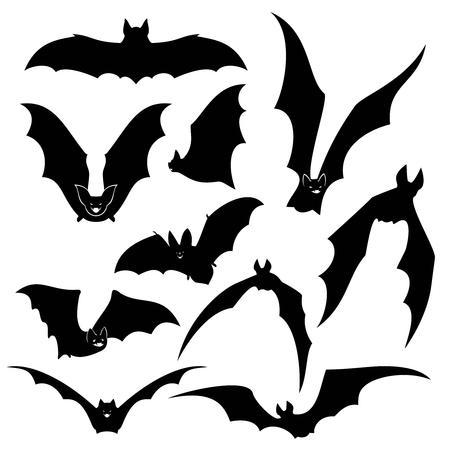 Black bats silhouettes set. Wing and halloween, vampire animal, wildlife design illustration Vettoriali