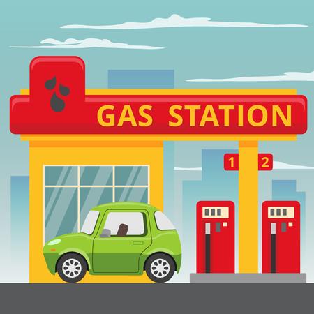 Gasolina concepto de estación de servicio en el estilo de diseño plano. De combustible y energía, la bomba y el automóvil, industria del transporte.