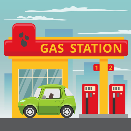 Petrol gas station concept in flat design style. Fuel and energy,  pump and car, transportation industry.  Иллюстрация