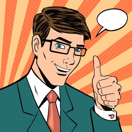 Hombre de negocios exitoso da pulgar en estilo cómic pop art vintage. Me gusta y sensación positiva. Gesto bueno, mano y anteojos, acuerdo y sonrisa, acuerdo con los dedos. Ilustración de vector
