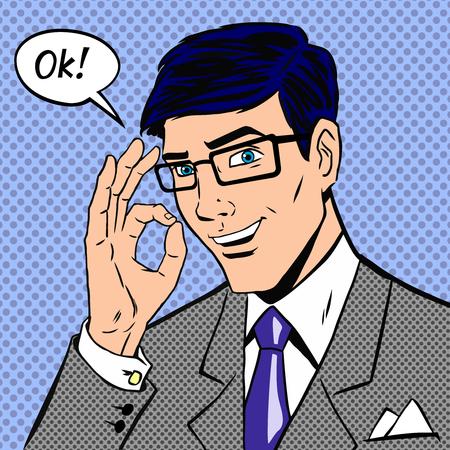 Homme d'affaires prospère disant, d'accord en style vintage comics pop art avec des points de trame ombrage. Personne de sexe masculin, la main positive. Illustration