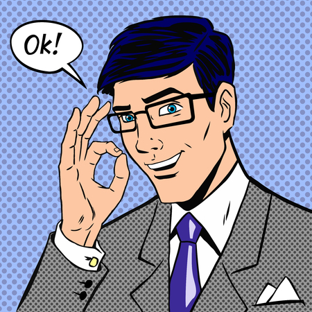 Successful businessman saying okay in vintage pop art comics style with halftone dots shading. Person male, hand positive.