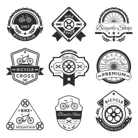 old style: Bicycle labels, emblems, template set. Bike design sticker or stamp, vintage element illustration Illustration