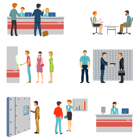 People in a bank interior flat icons set. Banking business concept. Queue and counter, atm and keeping money illustration Vettoriali