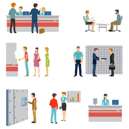 Mensen in een bank interieur platte iconen set. Bankwezen concept. Wachtrij en toonbank, pinautomaat en het houden van geld illustratie Stockfoto - 46861550