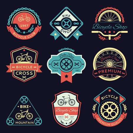 stamp collection: Set of bicycle and bike color emblems and labels. Wrench and shop, gear and transport, sport label illustration